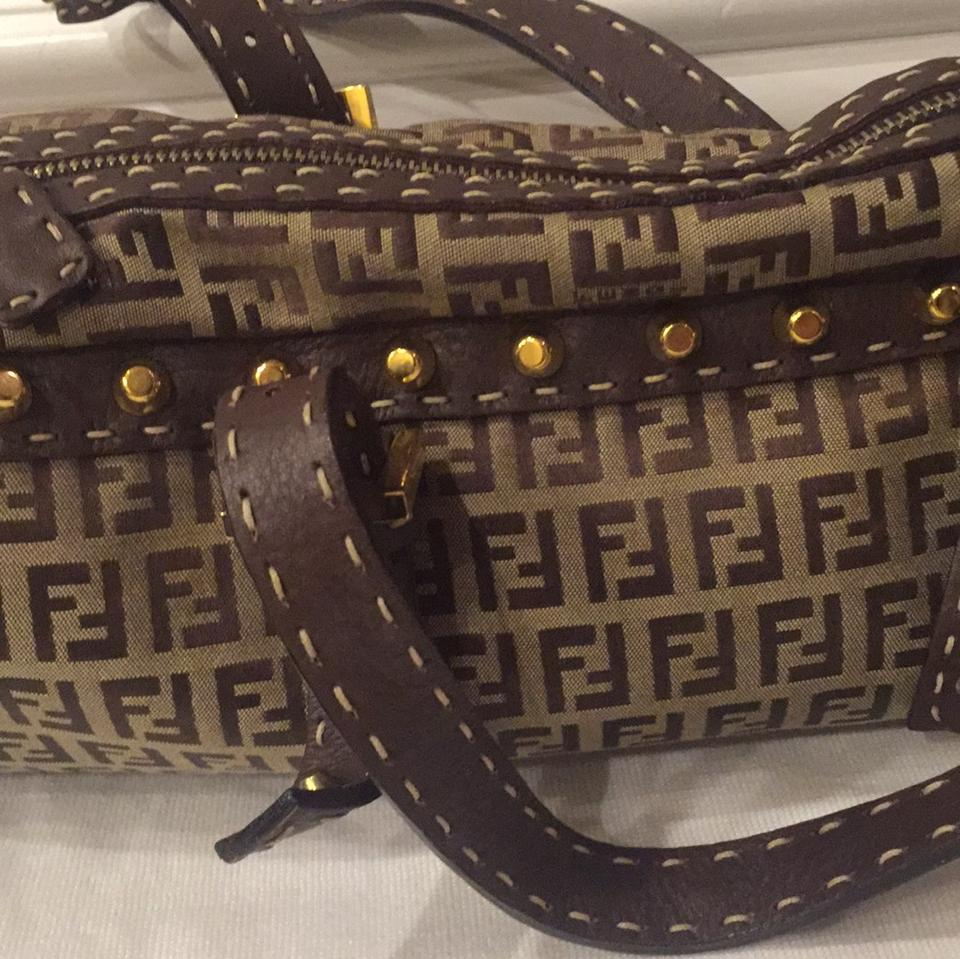 Leather Fendi Brown Nude Travel Bag Fabric Weekend qwtw7aZr