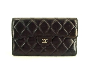 Chanel Long Trifold Bifold Black Clutch