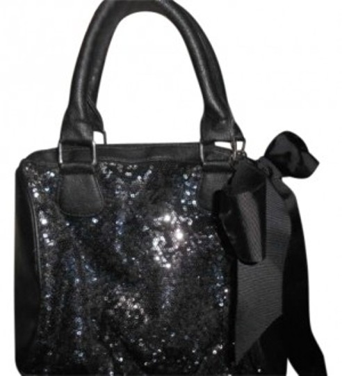 Preload https://item1.tradesy.com/images/xhilaration-purse-bow-black-and-sparkly-leather-with-sequins-shoulder-bag-192120-0-0.jpg?width=440&height=440