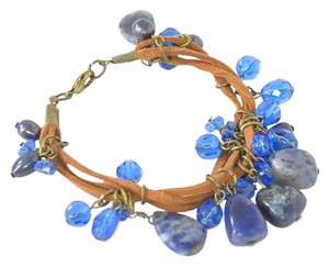 Boho Blue Stone and Leather Multi-Strand Bracelet | Rock Bracelet