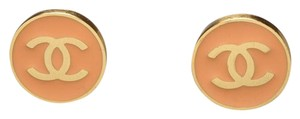 Chanel Chanel Sherbet Orange Circle Gold Earrings