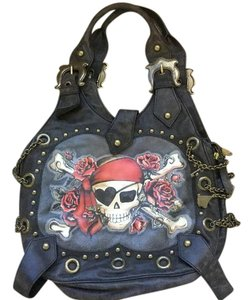 Isabella Fiore Vintage Studded Leather Hobo Bag