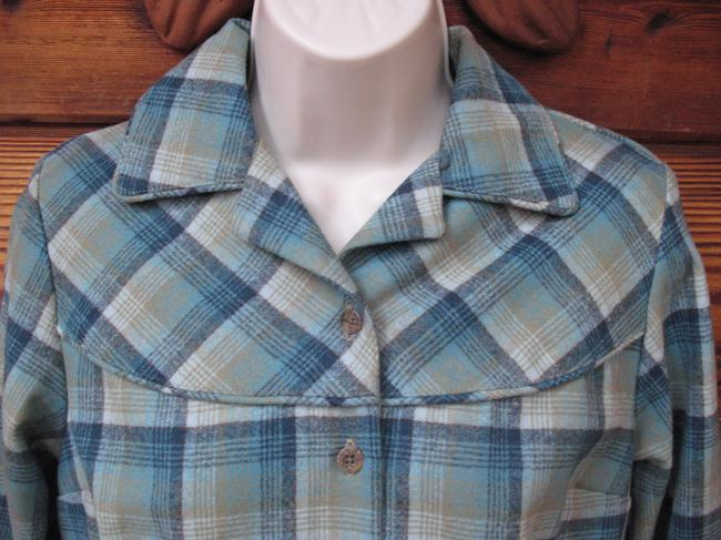 Pendleton Virgin Wool Long Sleeve Button Front Button Down Shirt Green Plaid