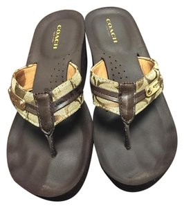 Coach Comfortable Summer Wedge Brown Sandals