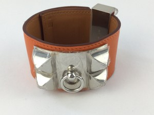 Hermes Collier De Chien Orange With Silver Tone Hardware