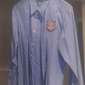 Ralph Lauren Collection Button Down Shirt Stripe white and light blue.