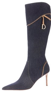 Dior Pointed Toe Denim Blue, Beige Boots