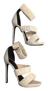 Ermanno Scervino Fabric Leather Fall 2015 Runway White Pumps