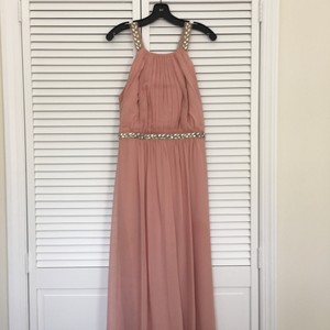 BCBGMAXAZRIA Blush, Pink Celestine Beaded Halter Gown Dress