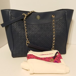 Tory Burch Leather Chain Detail Tote in Blue
