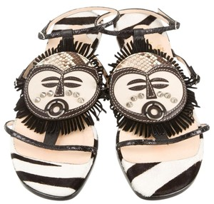 Christian Louboutin Fringe Silver Hardware Black, White, Brown Sandals