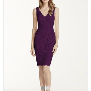 David's Bridal Plum Lace/Cotton Casual Bridesmaid/Mob Dress Size 2 (XS)