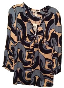 Diane von Furstenberg Top Black, beige and blue