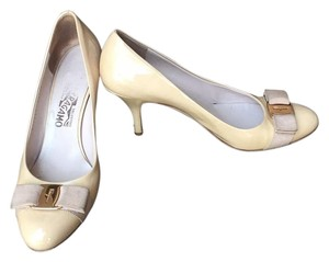 Salvatore Ferragamo New Bisque/ Gold Pumps