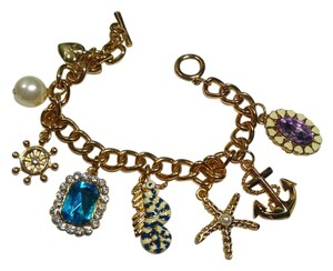 Betsey Johnson Betsey Johnson Nautical Charm Bracelet Gold Tone J2859