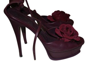 Saint Laurent Leather Sandal Ankle Strap wine Pumps