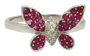 Other Pink Sapphire & Diamond Vintage, 14K White Gold Butterfly Ring