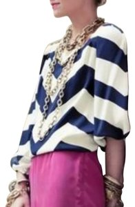 Diane von Furstenberg Top Navy and ivory striped.