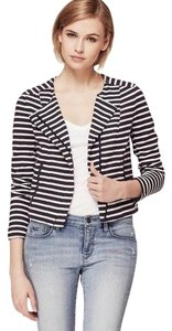 Ann Taylor LOFT Striped Casual Breton Striped Moto Nautical Navy & White Jacket