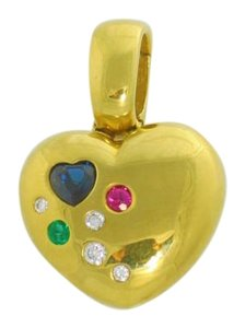 Heart Pendant 14k Yellow Gold, Ruby, Tsvorite, Sapphire and Diamond
