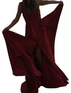 Red silk chiffon Maxi Dress by Halston