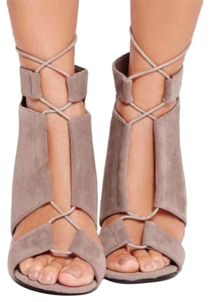 74ef4917c88 Missguided Grey Perspex Block Heels - Suede Lace Up Sandals Size US 8  Regular (M, B) 23% off retail