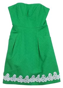 Lilly Pulitzer short dress Green Cotton Strapless on Tradesy