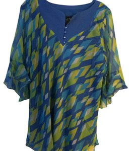Bob Mackie Top Main color is blue, with yellow/green and white