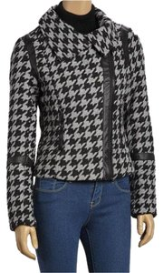 Yoki Houndstooth Zipper Jacket Black & ivory Blazer
