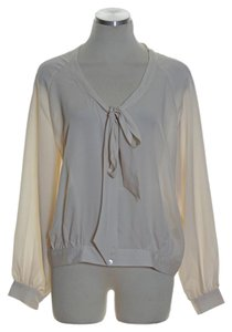 Adrienne Vittadini Woven Long Sleeve Button Down Top Ivory