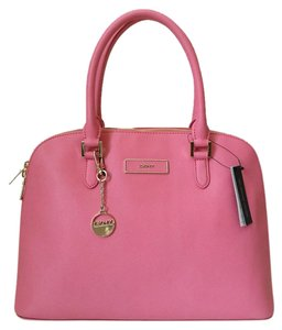 DKNY Saffiano Leather Satchel in Pink