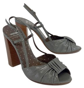 Moschino Grey Patent Leather Sandal Sandals