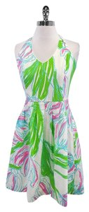 Lilly Pulitzer short dress Multi Color Floral Cotton Halter on Tradesy