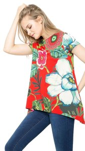 Desigual Knit Floral Stretchy T Shirt Red