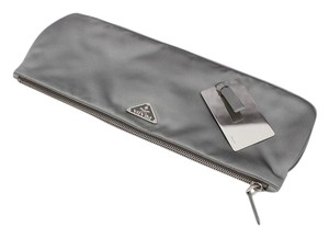 Prada Gray Satin Grey Clutch