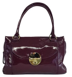 Mimco Maroon Patent Leather Shoulder Bag