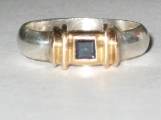Tiffany & Co. Gold Silver & Sapphire Tiffany Ring Size 4.5