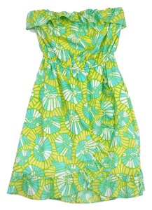 Lilly Pulitzer short dress Blue Green Cotton Strapless on Tradesy