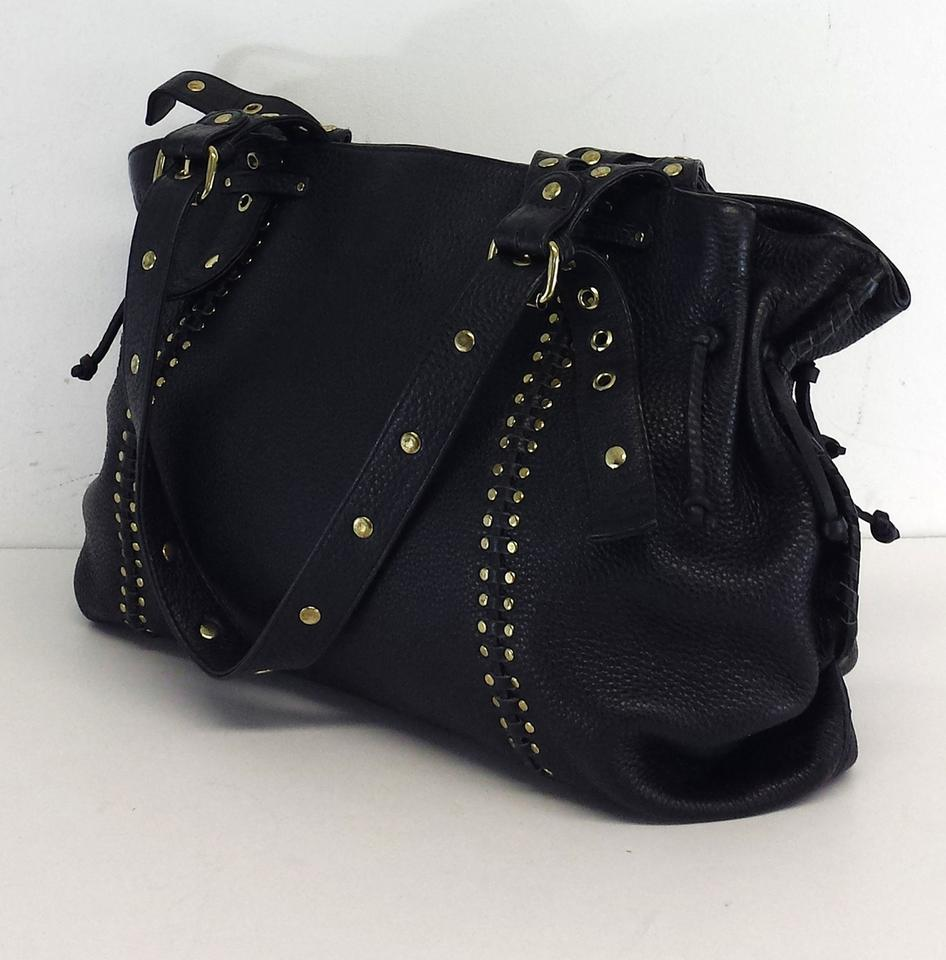 Carlos Falchi Black Leather Studded Shoulder Bag | Shoulder Bags ...