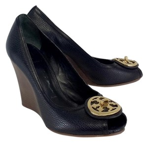 Tory Burch Black Leather Peep Toe Wedges