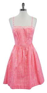 Lilly Pulitzer short dress Pink White Checkered Cotton on Tradesy