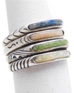 Carolyn Pollack Size 5.25, Sterling Silver, Mosaic, Fashion, Stacking Rings