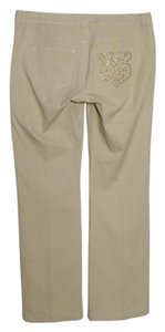 St. John Woven Stretchy Boot Cut Pants Beige