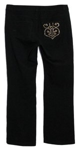 St. John Woven Stretchy Jeans Boot Cut Pants Black