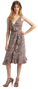 Rebecca Taylor short dress Taupe Woven Sleeveless Animal Print on Tradesy