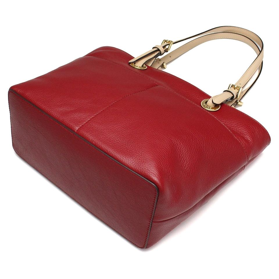 051bb081ac1e ... official store michael kors bedford top zip pocket 30h4gbft6l cherry  red gold leather tote 0aaba dbd9b