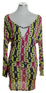 T-Bags Los Angeles short dress Multicolor Knit Printed Long Sleeve on Tradesy