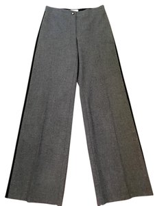 Céline Flat Front Wool Wide Leg Pants Grey