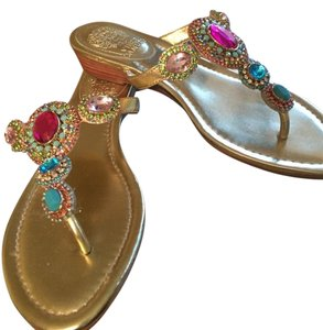 Vince Camuto Rhinestones Vacation Gold Sandals