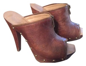 Jessica Simpson Open Toe Fall Leather Camel Mules